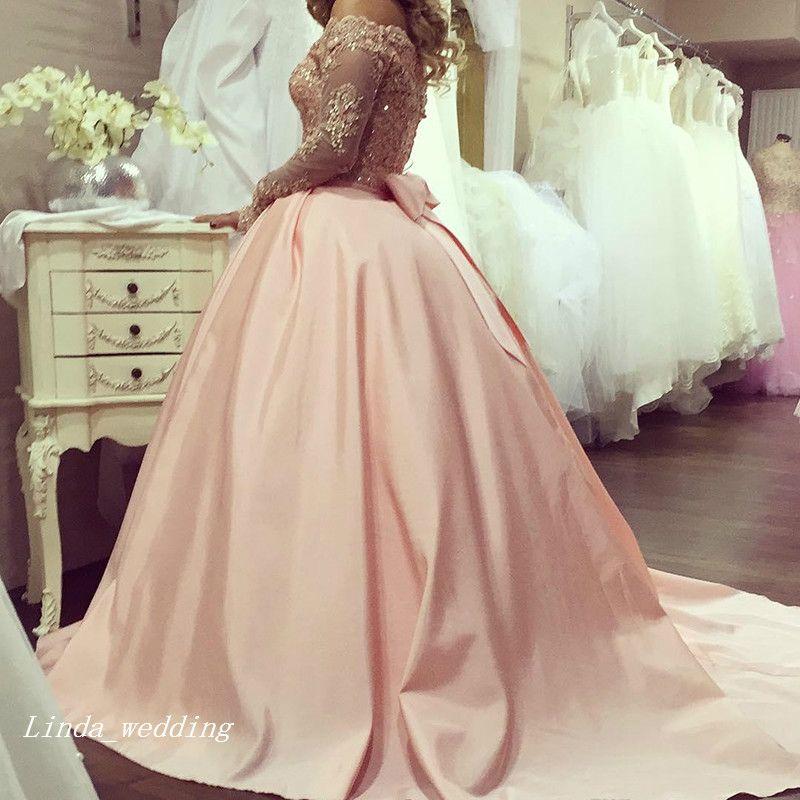 Розовато-розовое красивое бальное платье сексуальное южноафриканское платье выпускного вечера аппликация с длинными рукавами банкет вечернее платье на заказ плюс размер