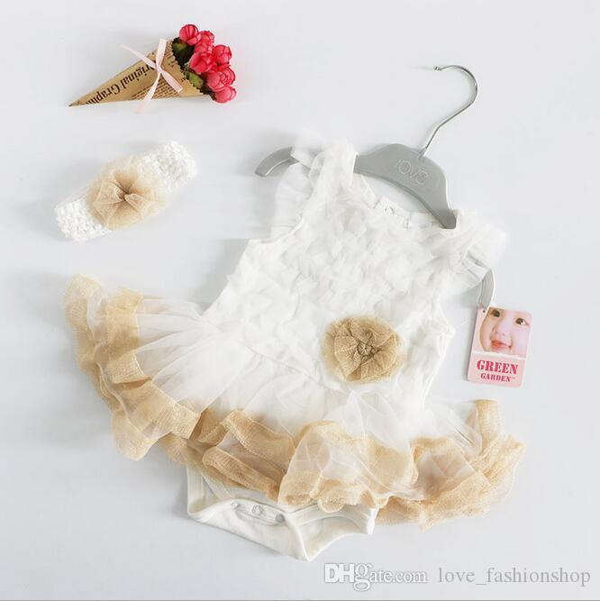 7 Styles Baby Girls TuTu Rompers SetFlower Headband+Ruffle Romper Infant Toddle One Piece Suits Baby Jumpsuits Kids Onesies Children Cloth
