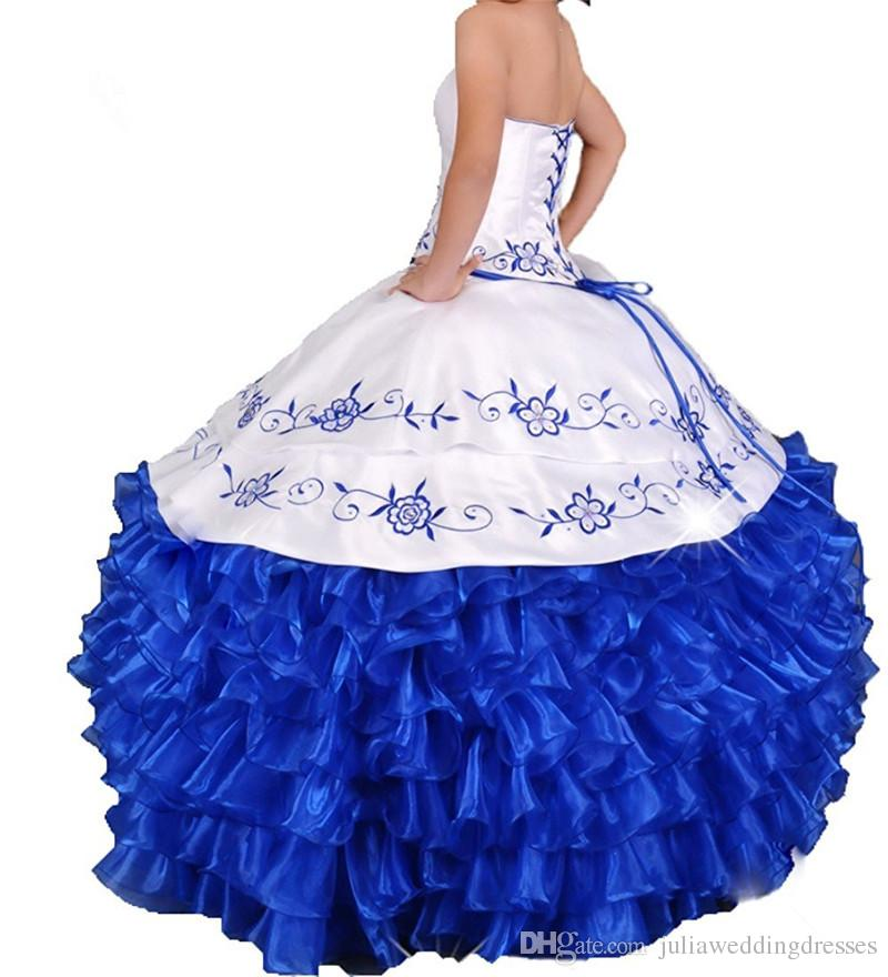 White Blue Embroidery Ball Gown Quinceanera Dresses with Lace Up Organza Plus Size Sweet 16 Dress Vestido Debutante Gowns BQ45