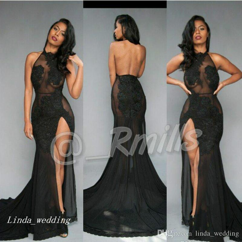 Pretty Open Back Sexy South African Prom Dress Illusion Lace Halter Split Long Banquet Evening Party Gown Custom Made Plus Size