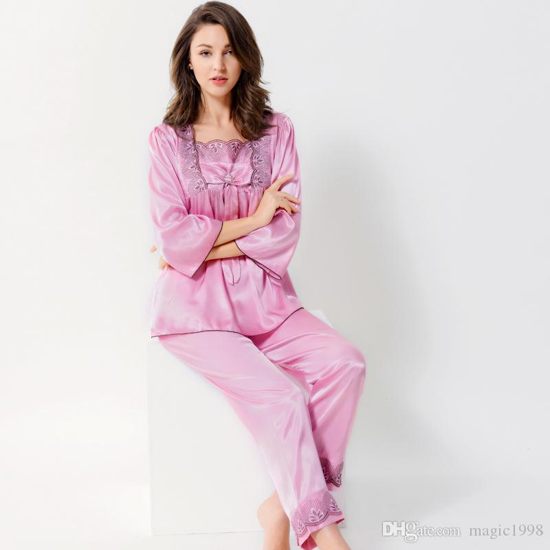 811e364e6c50 2019 Brand 2017 Spring Summer New Women Satin Silk Pajamas Sleepwear  Princess Pink Pyjama Sets Embroidery Silk Pajama Female 1204 From  Magic1998