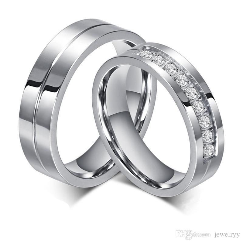 l'ultimo b3312 62087 Anello di coppia di cristallo placcato argento Anello di cristallo di  titanio acciaio CZ anelli di nozze in acciaio inox per le donne Regali di  nozze ...