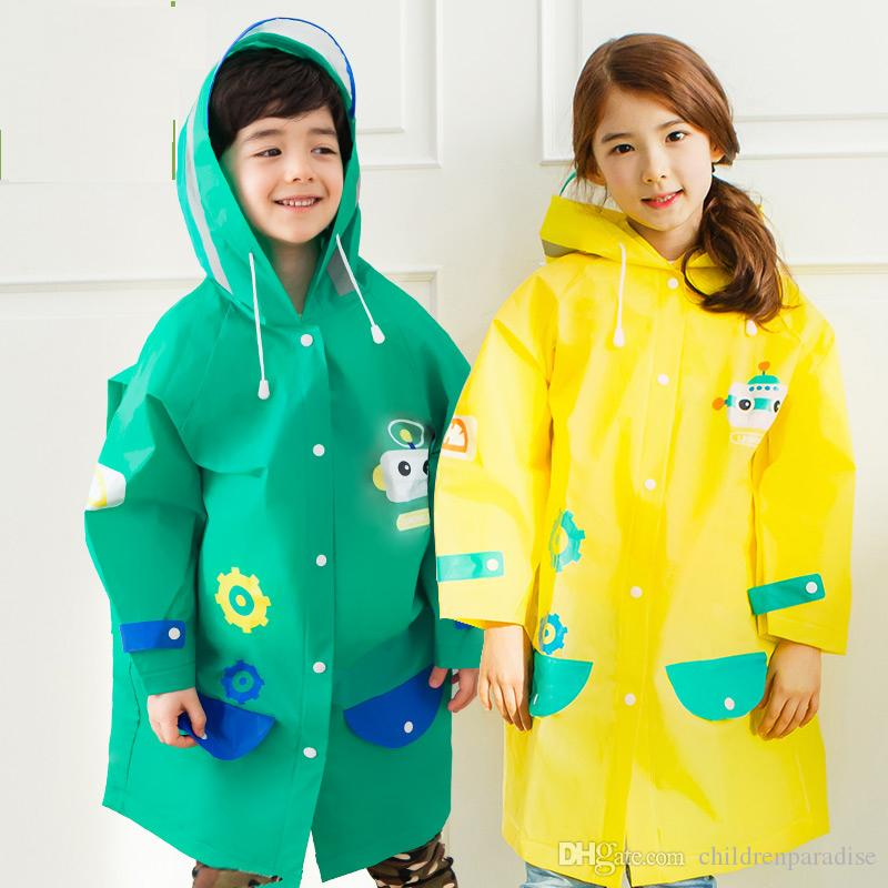 6c6ef55bd Student Cartoon Raincoat Baby Children Kids Girls Boys Rainproof ...