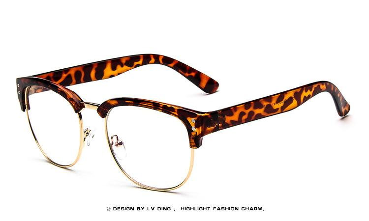 2017 Luxury vintage women Sunglasses black Half Frame Clear lens men glasses Fashion brand eyewear For lady Hot sale