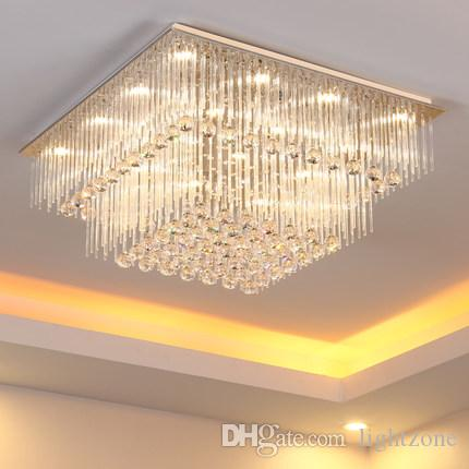 Modern crystal chandelier k9 crystal light square led pendant lamp modern crystal chandelier k9 crystal light square led pendant lamp creative fashion stairs lamp living room lights led ceiling light fixture pendant aloadofball Gallery