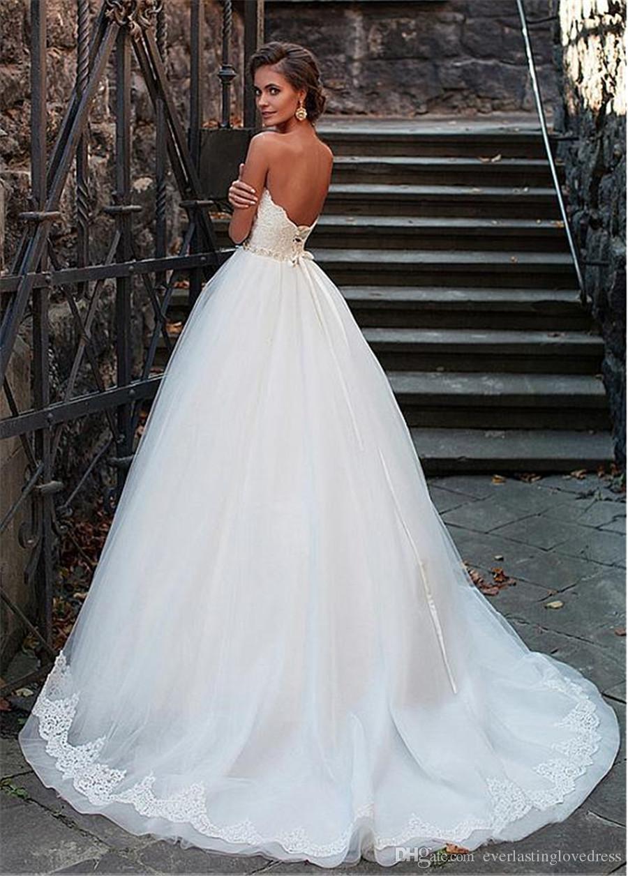 Amazing Tulle Sweetheart Neckline Ball Gown Wedding Dresses With Lace Appliques Beading Sash Bridal Dress vestido de novia