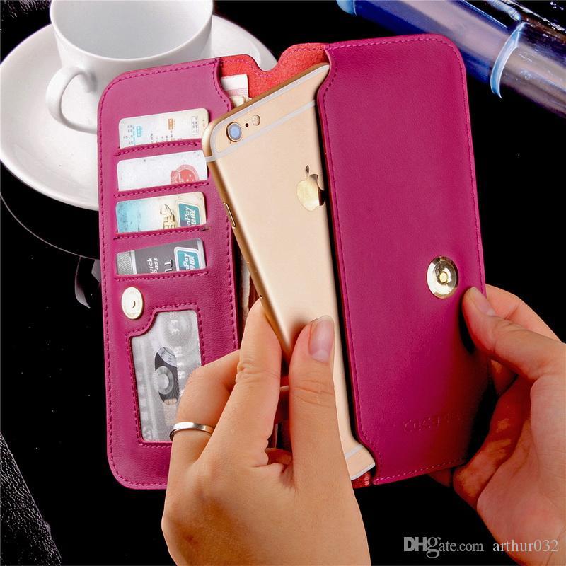 Etui pour Samsung S8 Plus portefeuille en cuir véritable ultra mince couverture pour iPhone 7, plus la mode cas fait main pure Huawei P10