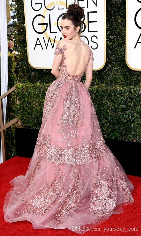 2017 Modest Zuhair Murad Evening Dresses Sheer Neck Cap Sleeves Tulle Backless Red Carpet Celebrity Dresses Rose Pink Golden Globes Vestido