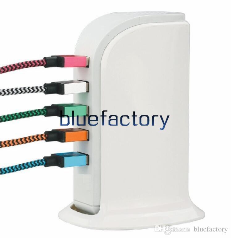 Caricabatteria universale da parete USB 5V 4A 20W 5 porte Caricabatterie da rete elettrica EU UK UK Plug iphone Samsung HTC LG Cell phone
