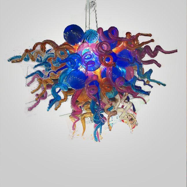 Qualitäts-Tiffany-Buntglas-Kronleuchter für Wohnzimmer-Kunst-Art Bunte Murano Glas Antike hängende Beleuchtung
