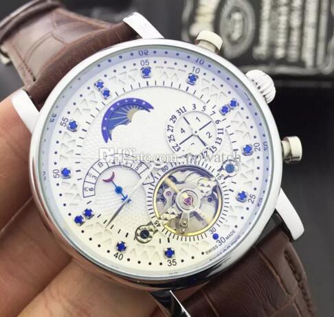 b74bfa2e786 Compre Nova Moda De Luxo Da Marca Relógio Suíço De Couro Tourbillon Relógio  Automático Dos Homens Relógio De Pulso Dos Homens De Aço Mecânico Relógios  ...