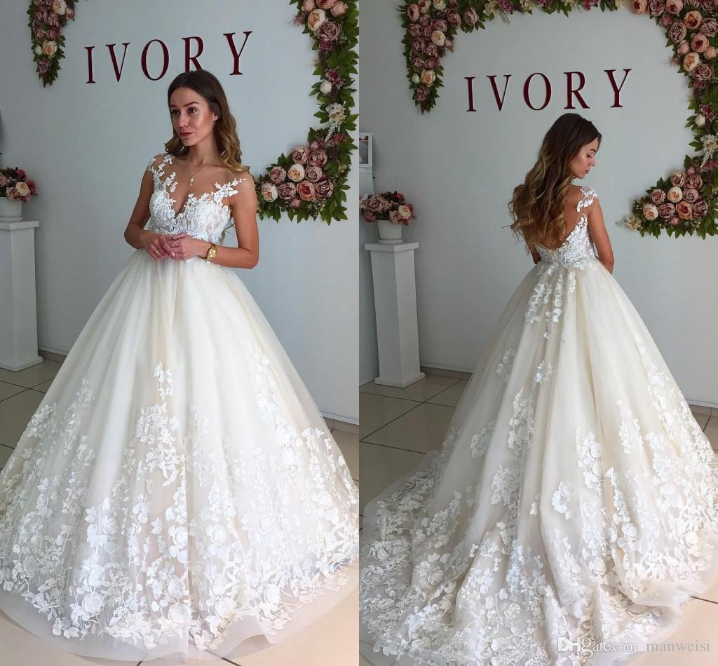 Ivory Ball Gown Wedding Dresses 2018 Newest Lace Appliqued Backless ...