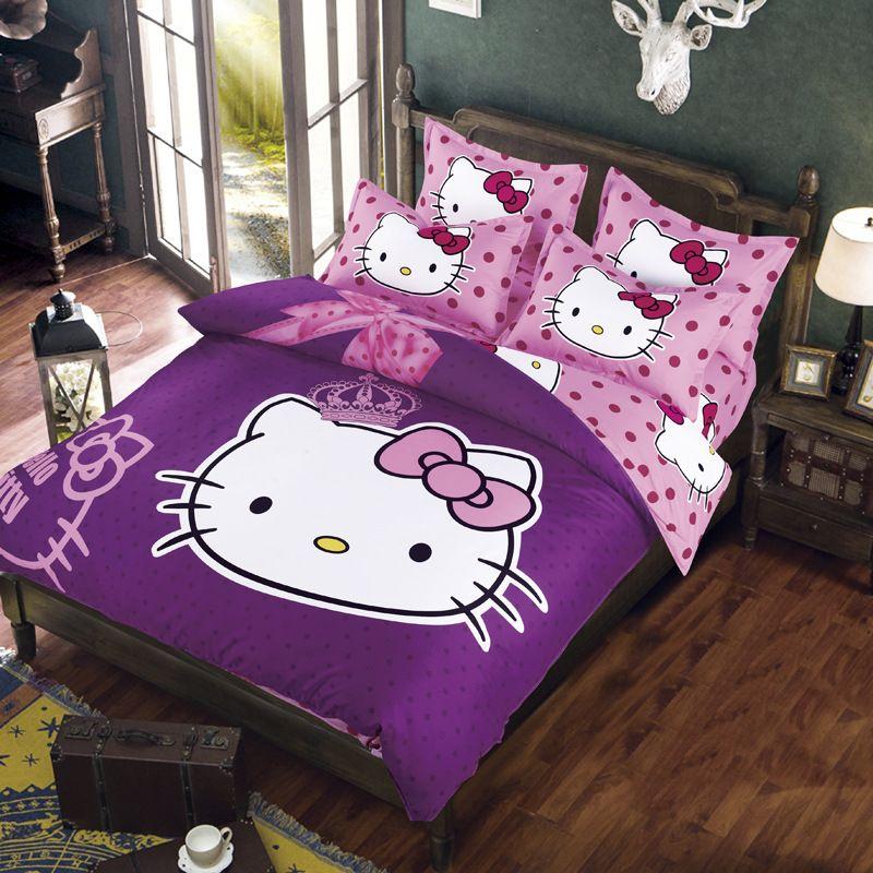 Wholesale Hello Kitty Bedding Set Children Bed Sheets Hello Kitty Duvet  Cover Bed Sheet Pillowcase, 3 Full/Twin/Queen Queen Comforter Cover Cheap  Queen ...
