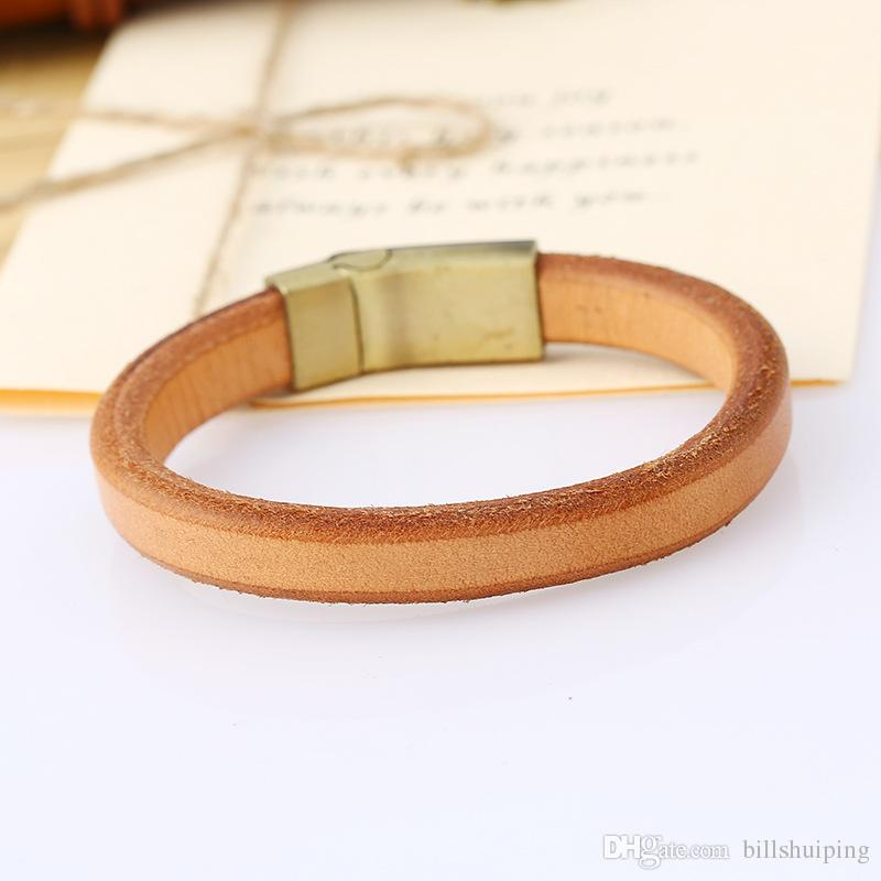 Semplice moda punk di colore solido in pelle fascino fascino fascino braccialetti braccialetti uomini donne decorazione del partito gioielli