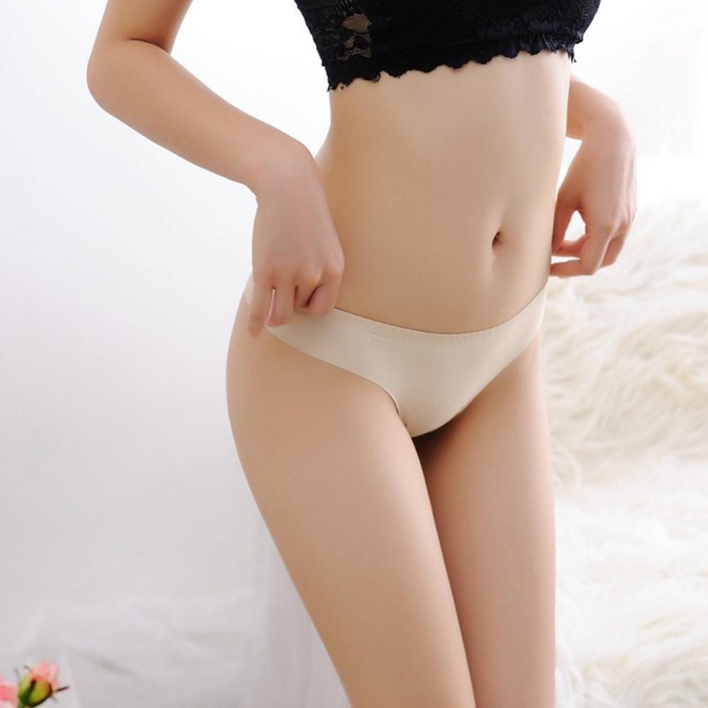 높은 품질 섹시 한 원활한 팬티 편안한 속옷 여자 여자 팬티 G-String 아이스 실크 가죽 란제리 여성 보라색 누드