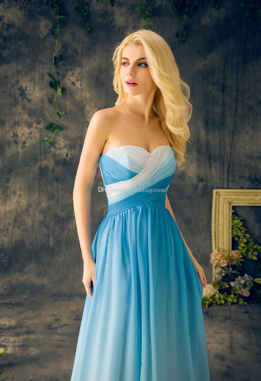 저렴 한 국가 신부 들러리 드레스 긴 파란색 그라디언트 색상 쉬폰 걸레 주름 레이스 플러스 크기 메이드의 명예 드레스 EV137