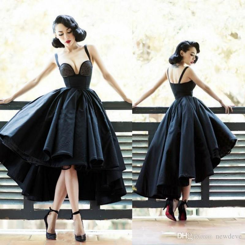 Vintage Little Black Ball Gown Prom Dresses Sexy Backless Dot