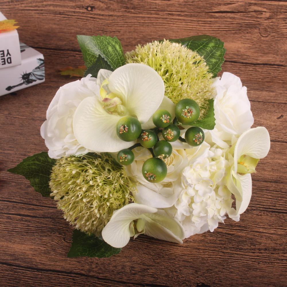 Best Quality Silk Flower Wedding Bouquet Rose Orchid Berry