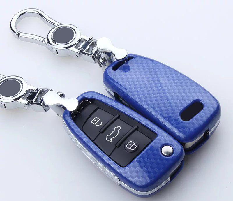 Carbon Fiber Car Key Cover For Audi A1 A2 A3 A4 A5 A6 A7 A8 Q5 Q7 R8 S6 S7 S8 SQ5 RS5 flip folding remote accessories