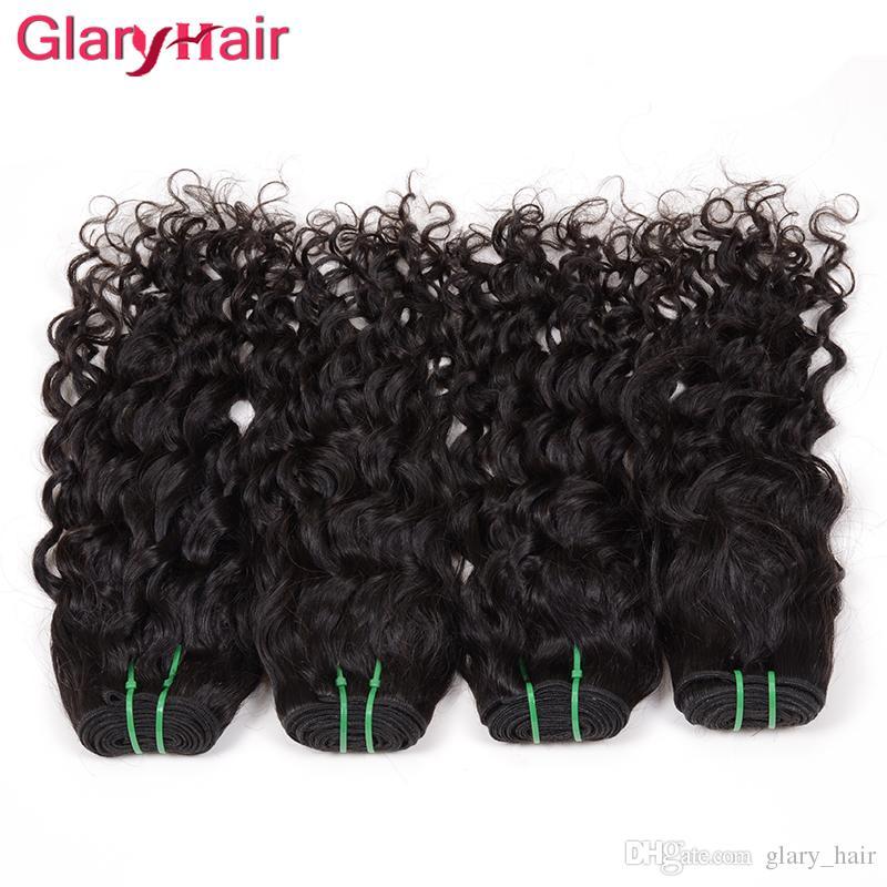 Vague de l'eau Chaude Extensions de Cheveux Vierge Brésilienne Cheveux Weave Trame Big Curly Non Transformés Remy Faisceaux de Cheveux Humains / Naturel Couleur Dyeable