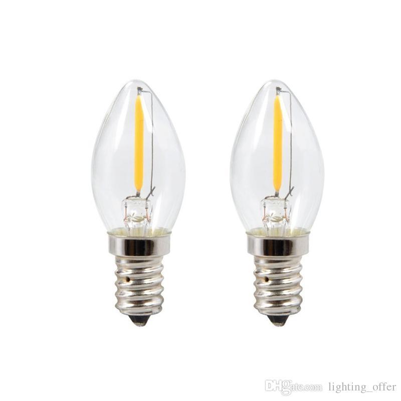 C7 LED Filament Bulb E12 Candelabra Base Household Night Light 0.5-Watt Equivalent to 12w Incandescent Bulb 100Lumen Warm White 2700K