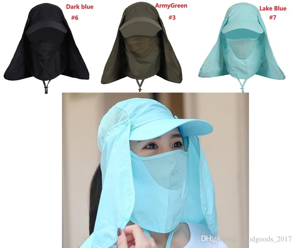 f0bb429b4c7955 2019 Outdoor Summer Men Fishing Hat Climbing UV Protection Bucket Hat With  Neck Face Cover Cycling Breathable Visors Sun Cap M0677 From  Goodgoods_2017, ...