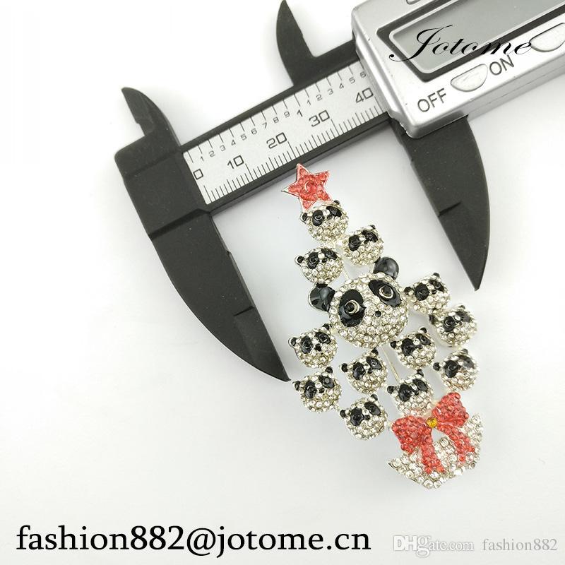 2017 China Wholesale Vintage Style Crystal Multi Panda Christmas Tree Brooch Fashion Women/Men Jewelry
