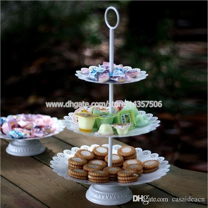 2018 Vintage White 3 Tier Iron Wedding Cake Stand European Metal Cupcake Tower For Dessert Fruit Creative Living Room Accessories From Casaideacn