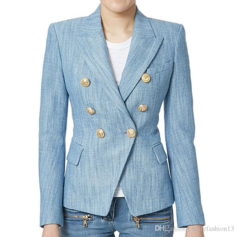 2018 2018 Top Fashion Brand New European Womenu0027S Unique Double Breasted  Metal Buttons Runway Slim Blazers Light Blue Jacket Blazer From  Hollyfashion13, ...