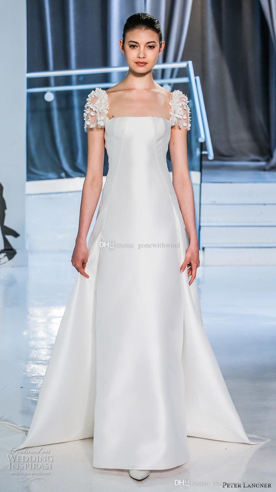 Simple Clean Elegant Sheath Wedding Dresses 2018 Peter Langner ...