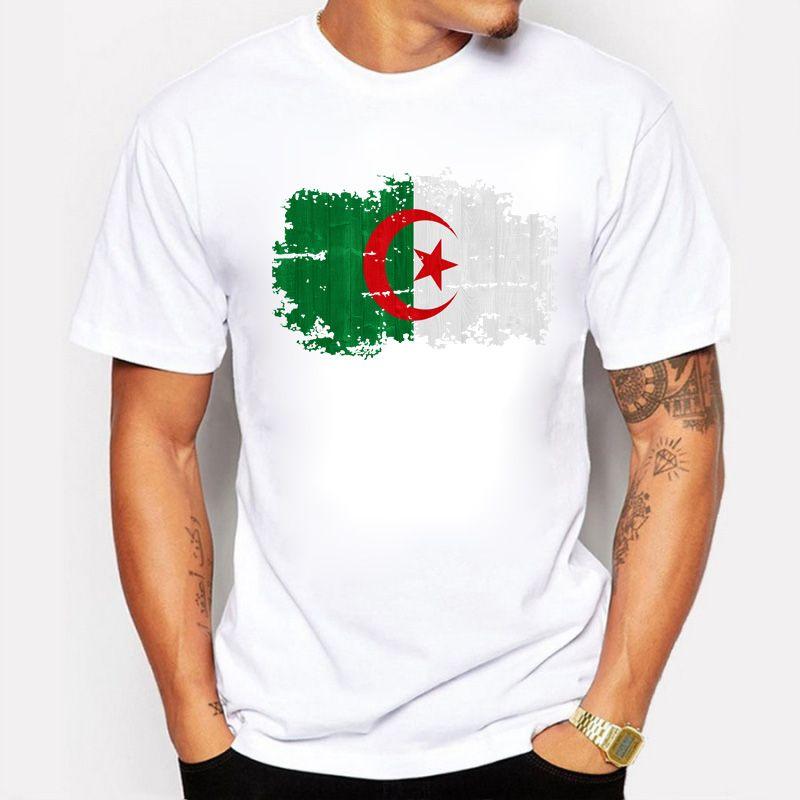 Manga Corta Camisetas Hombre Argelia Nación Bandera Verano 100% Algodón puro Vintage Nostálgico O-cuello Camisetas