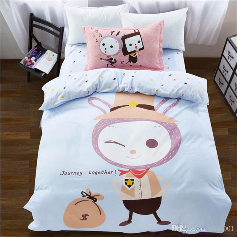 도매 - 면화 어린이 만화 침구 세트 bedsheet / duvet 커버 / pillowcase 홈 섬유 트윈 사이즈 무료 배송