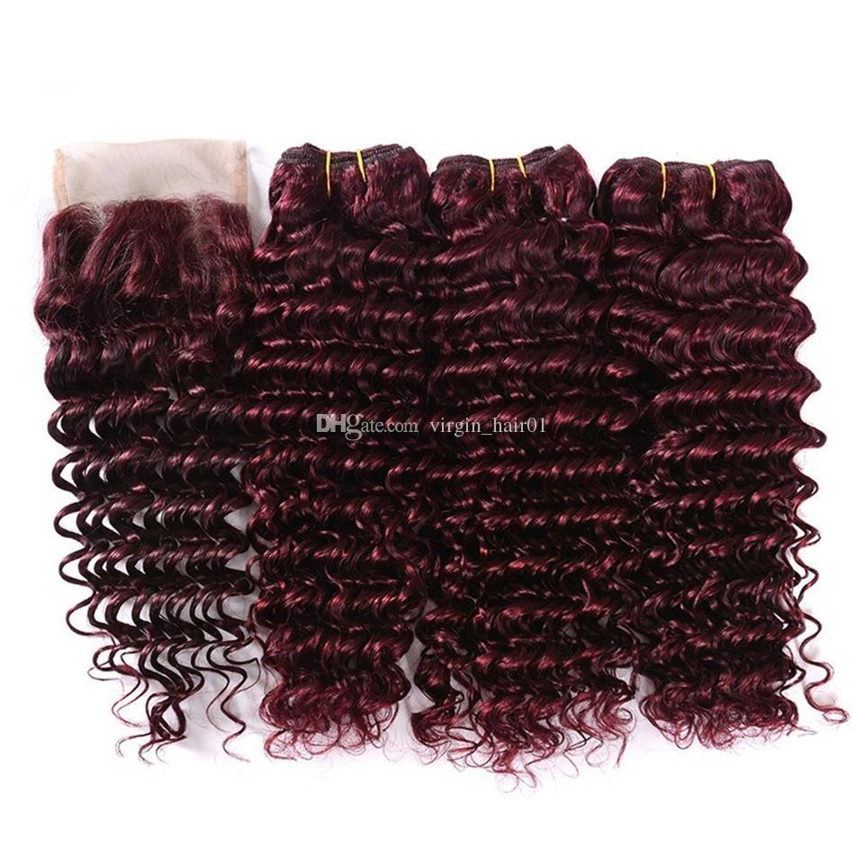 9A 레이스 클로저 많은 순수한 색상 # 99j 와인 레드 깊은 파도 헤어 번들과 브라질 처리되지 않은 브라질의 처녀 머리카락