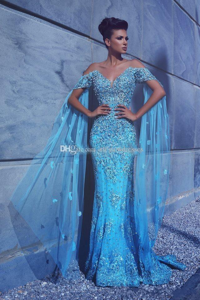 2017 luxe sexy bleu sirène soir robes de soirée épaule appliques cristal tulle personnalisée a déclaré les robes de soirée officielles mhamad