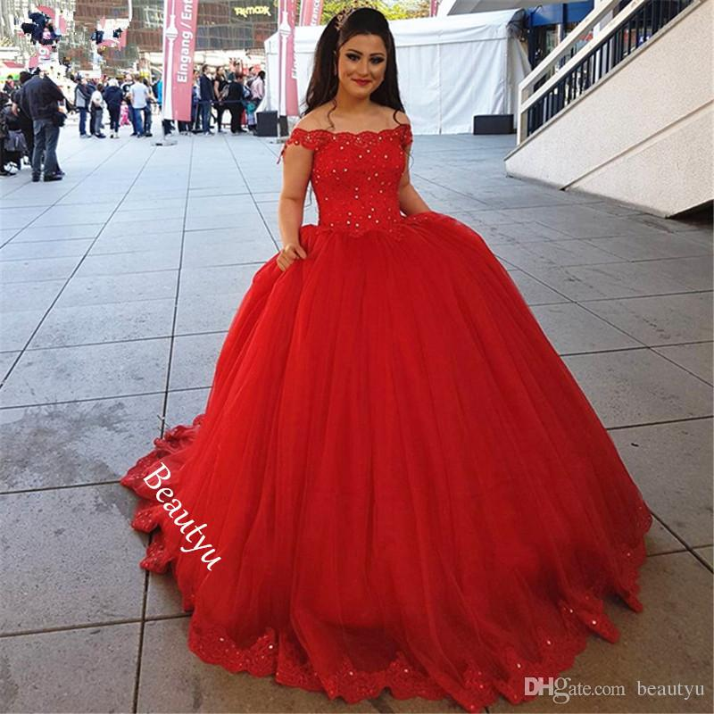 Sweet 16 Dresses Quinceanera Red Puffy Ball Gown Off Shoulder ...