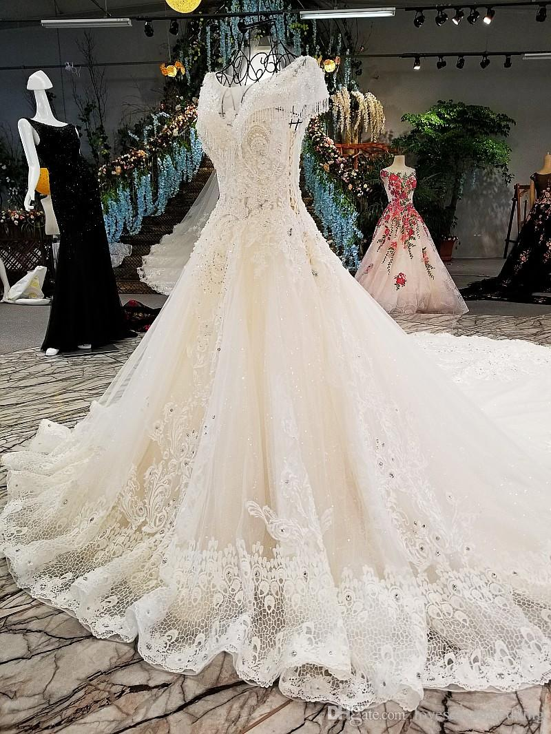 LS00303 kleinfeld appliqued long dresses long train see through back cap sleeve beaded bridal dress for wedding