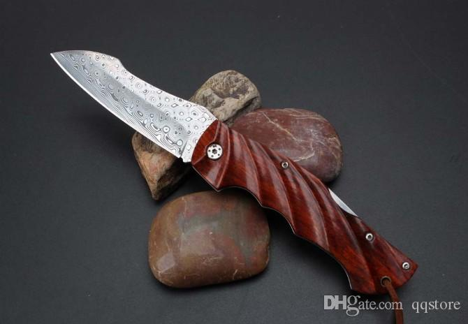 Importato svedese polvere Damasco pieghevole coltelli da campeggio high-end Natual Acid Manico in legno EDC coltelli tascabili EDC strumenti