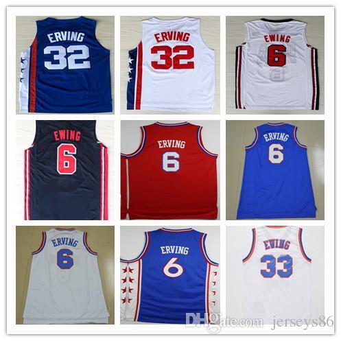 free shipping 604fe 24e06 Basketball Throwback 32 Julius Erving Jerseys Uniforms Breathable 6 Julius  Erving Dr J Shirt Sportsware Home Away Blue Red White