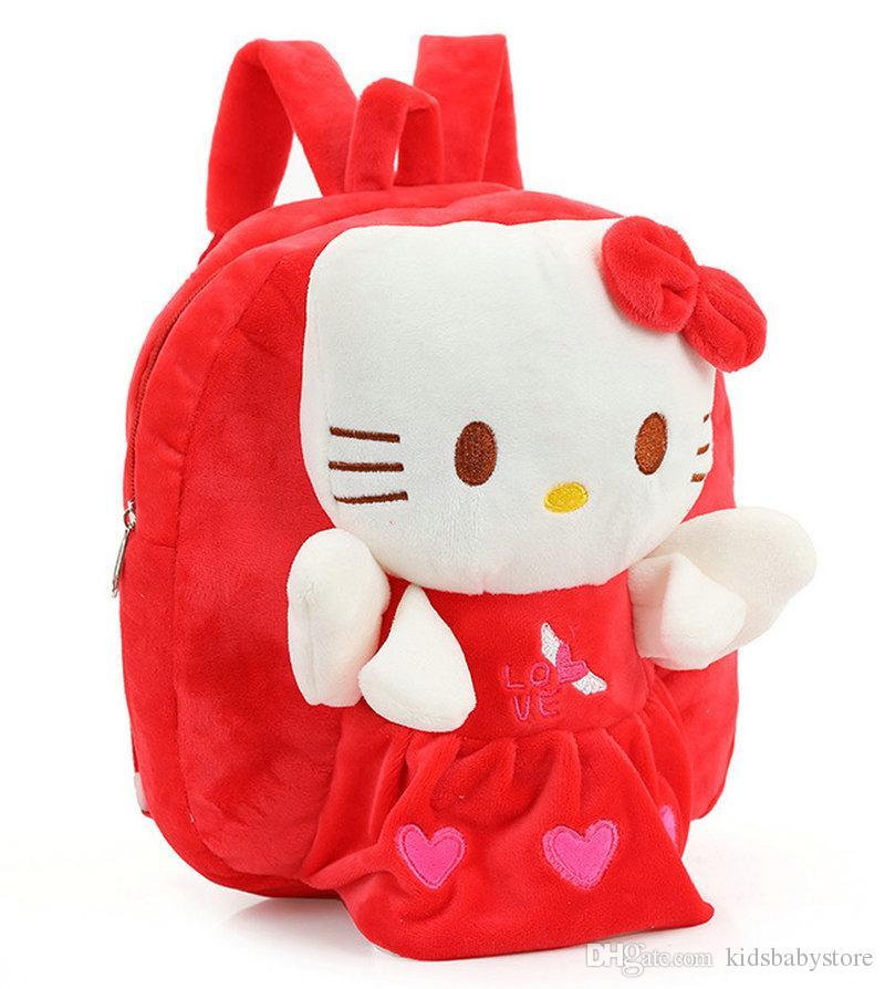 53daa4ba97c Free shipping Cute cartoon baby plush doll toys backpack bag children Hello  Kitty backpack christmas gifts