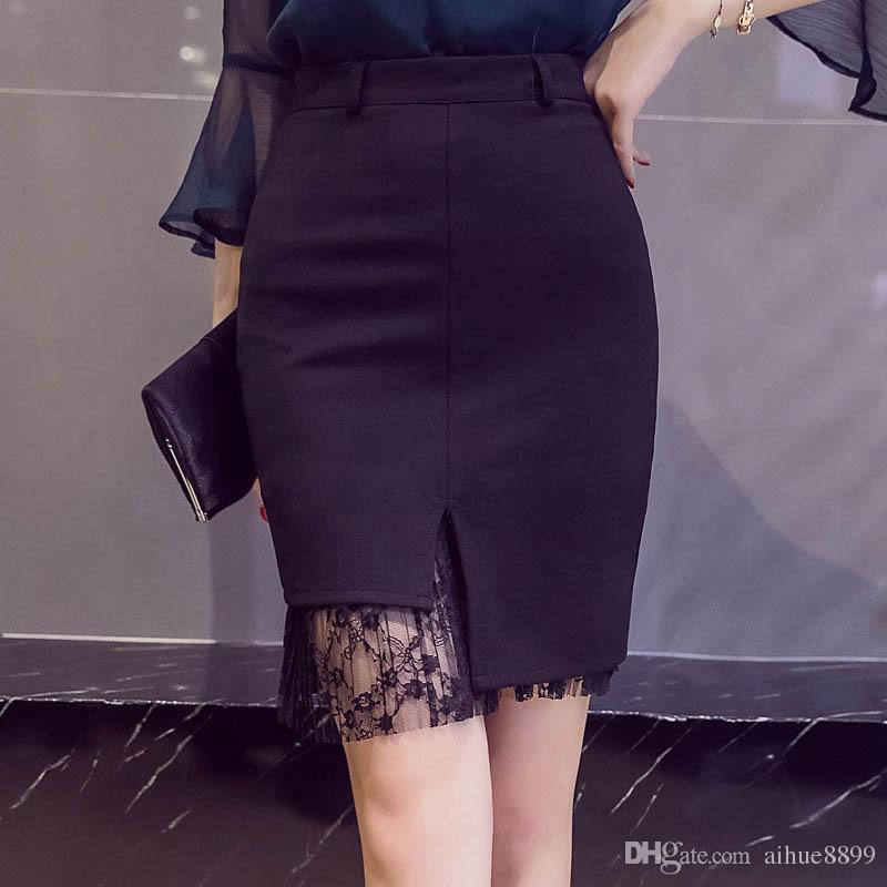 Women sexy mini skirt female black Asymmetric Lace Skirts High elastic  waist Slim Package hip work OL skirt