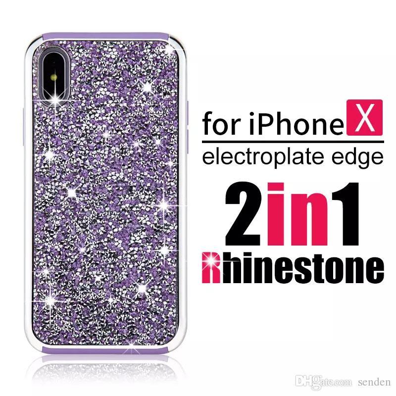 venta al por mayor Premium bling 2 en 1 diamante de lujo cubierta del teléfono de la contraportada del rhinestone del diamante, para el iPhone X 8 7 5 6 6 s plus Samsung s8 note 8 casos