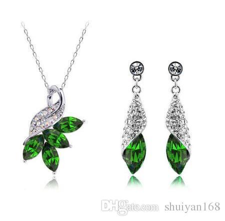 Conjuntos de jóias de strass de cristal austríaco Brincos de prata Cor DHL Designs Colar de alta qualidade Novo e brincos Mulher Jóias de cristal