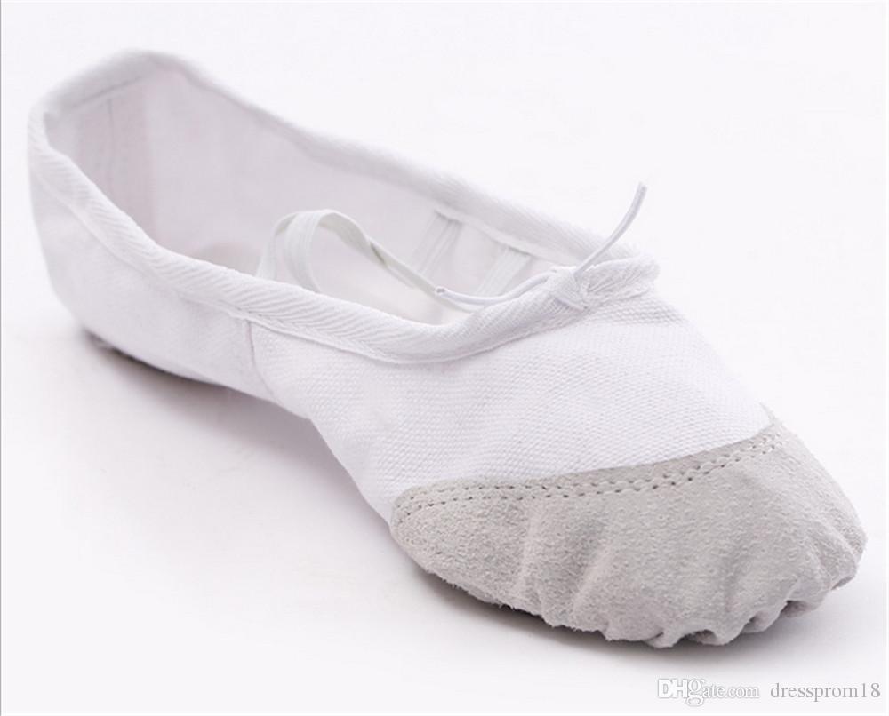 Bayan Tuval Bale Terlik Bölünmüş-tek Balo Salonu Oryantal Uygulama Dans Düz Elastik İpli Jimnastik Yoga Ayakkabı Toptan Fiyat