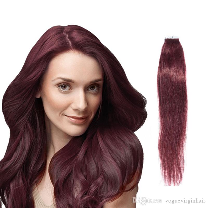 99j Burg Tape In Human Vogue Hair Extension Double Drawn Brazilian