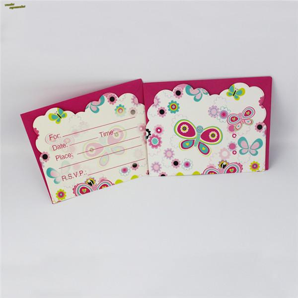 Wholesale Invitation Card For Kids Birthday Party Butterfly Smile Face Supplies Decoration Favors Free Animated Greeting Cards