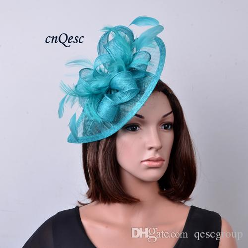 Turquoise Blue Bridal Fascinator Sinamay Feather Fascinator Hat Hair  Accessory For Kentucky Derby 1a4ce56e74f