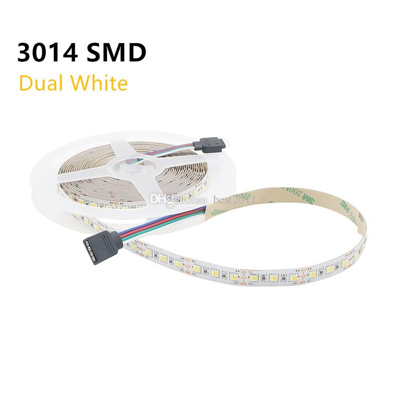 2 colors in 1 LED Strip 3014 SMD 216LEDS/M Dual White CW/WW CCT color  temperature LED tape Lights