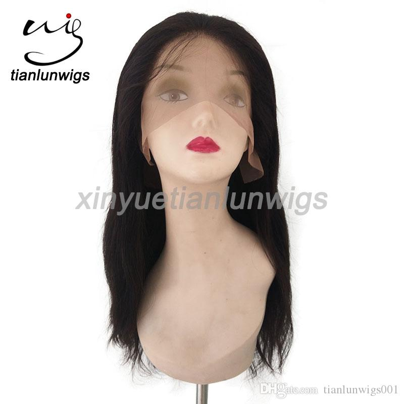 Elegant hand made brazilian human virgin hair natural straight full lace women hair wig front lace wig for black women