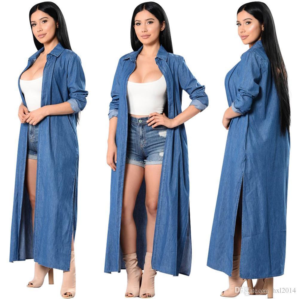 7e2e16fa2 Compre Ropa De Mujer 2019 Primavera Blusa Casual Chaqueta De Abrigo Delgada  Chaqueta Larga Abrigos De Chaquetas De Mezclilla Azul Mujer Ropa Del Cabo  Tops ...