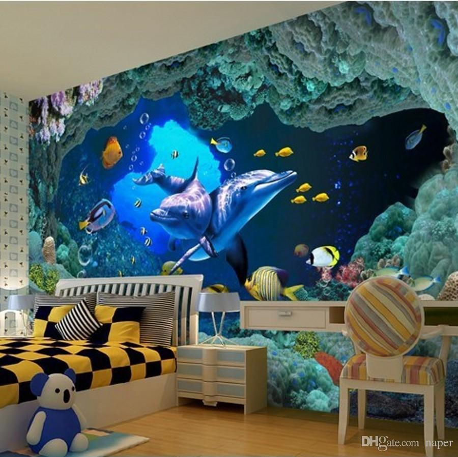 Wholesale Custom Photo Wallpaper 3d Of Wall Paper Living Room Tv Background Covering Underwater World Mural Online